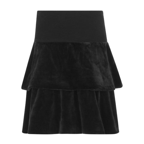 Parni Black Velour Tiered Skirt
