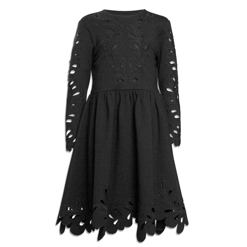 Petit Amalie Black Double Knit Cut out Dress