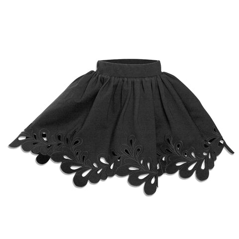 Petit Amalie Black Double Knit Cut out Skirt