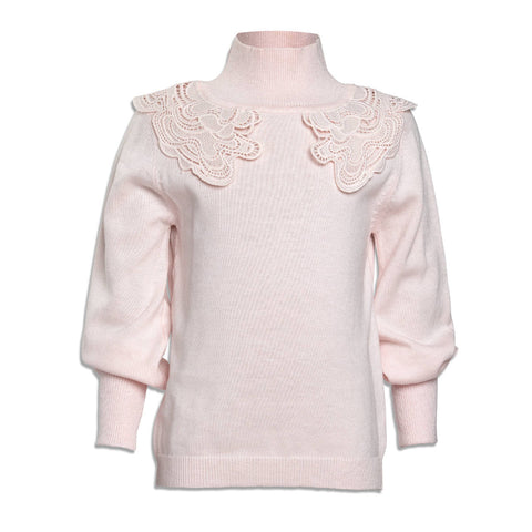 Petit Amalie Pink Lace Neck Sweater