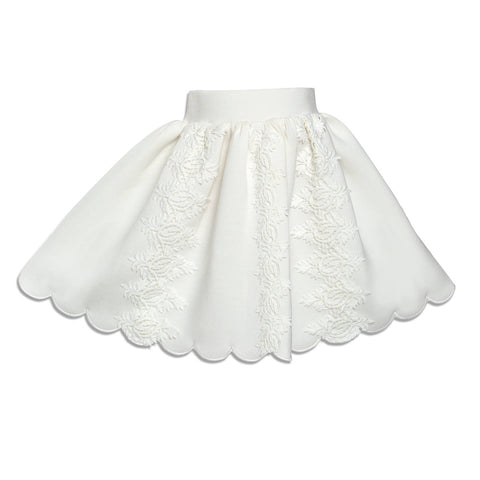 Petit Amalie White Double Knit Rose Lace Skirt