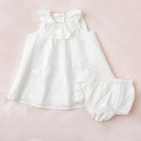 Petit Amelie Bebe White Butterfly Dress & Bloomers
