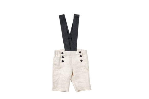 Pompomm Sand Button Overall Shorts