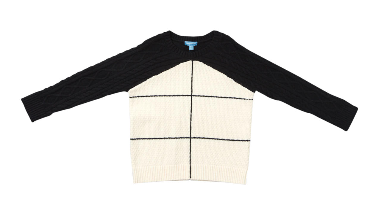 Pompomme Black Cable Knit Sweater