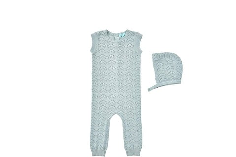 Pompomme Light Blue Pointelle Overalls