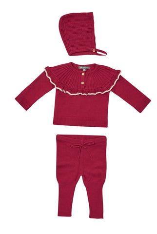 Pompomme Red Pointelle Frill Set