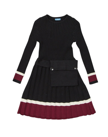 Pompomme Rib Pleated Dress