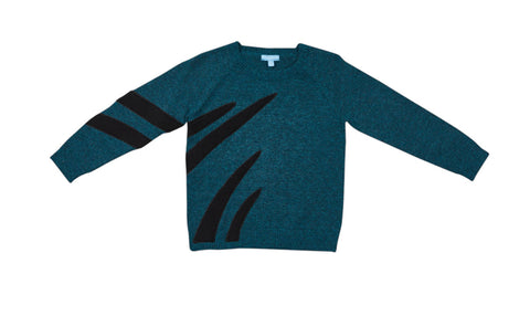 Pompomme Teal Applique Sweater