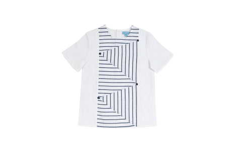 Pompomme White/Navy Striped Insert Shirt