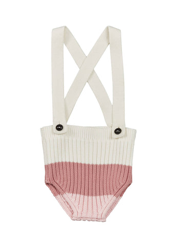 Pompomme Girls' White & Pink Knit Bloomer with Suspenders
