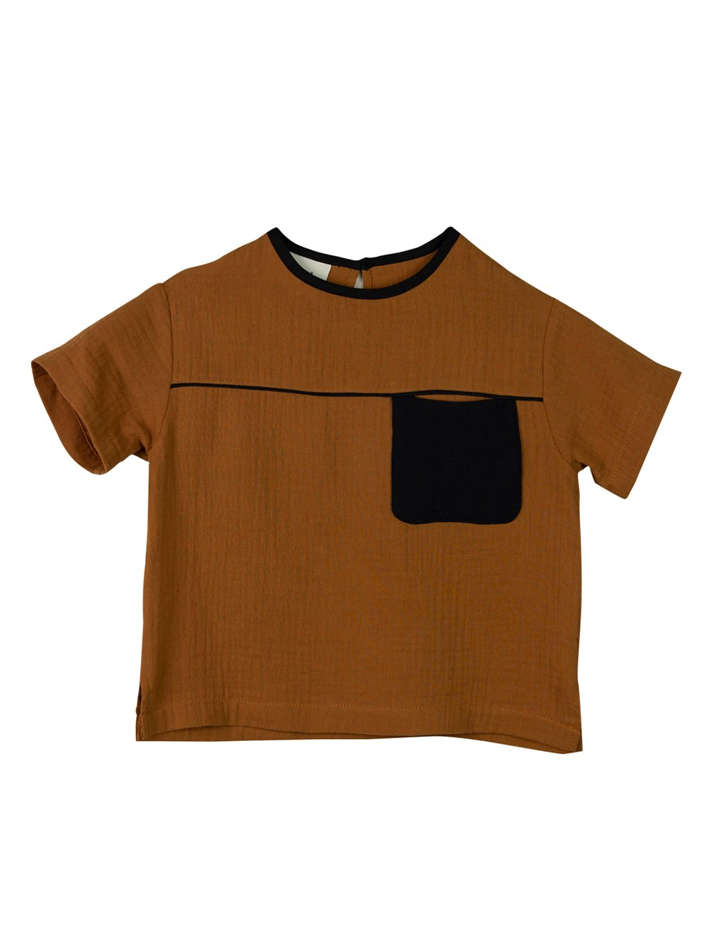 Popelin Brown Pocket Shirt