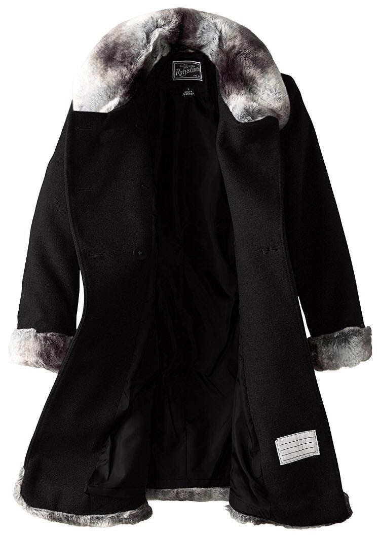 Rothschild Girls' Black Dressy Coat With Faux Fur Trim - Young Timers Boutique  - 2