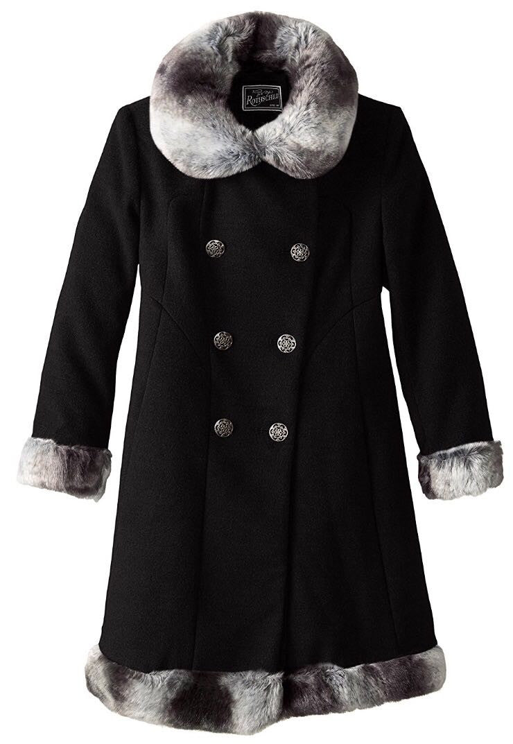 Rothschild Girls' Black Dressy Coat With Faux Fur Trim - Young Timers Boutique  - 1