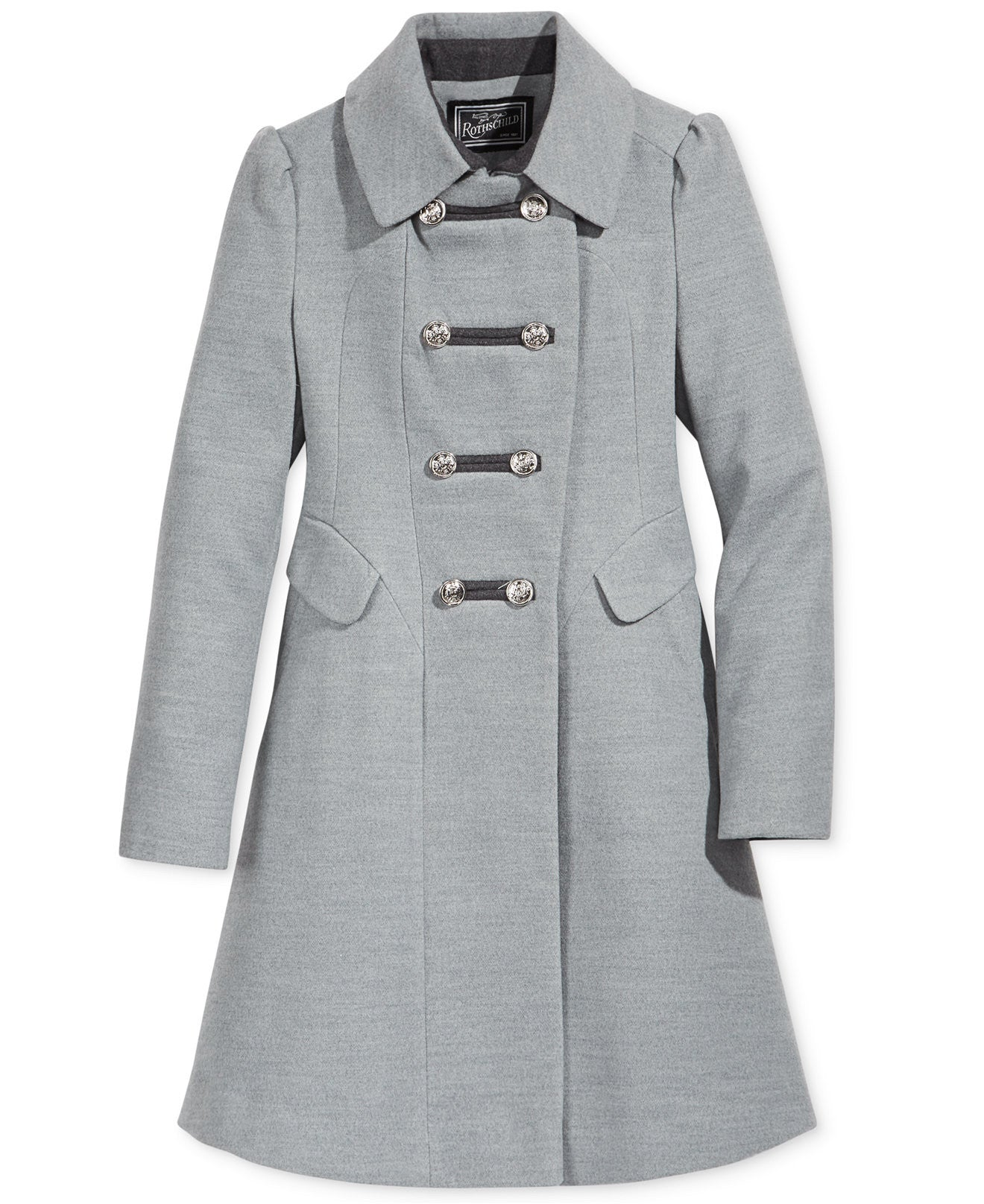 Rothschild Girls' Grey Military Faux Wool Coat - Young Timers Boutique
