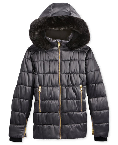 Rothschild Girls' Matte Puffer Jacket with Faux Fur Trim