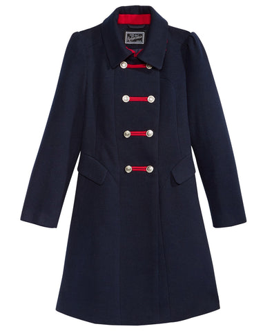 Rothschild Midnight Faux Wool Bandmaster Military Coat