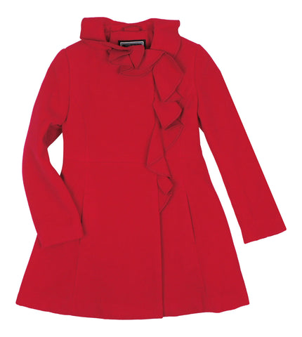 Rothschild Scarlet Red Girls' Faux-Wool Ruffle Coat