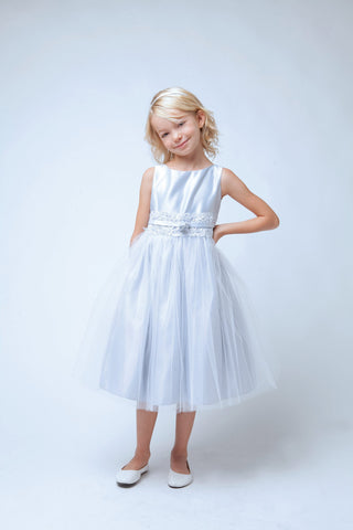 Sweet Kids Silver Satin with Metallic Lace - SK473 - Young Timers Boutique