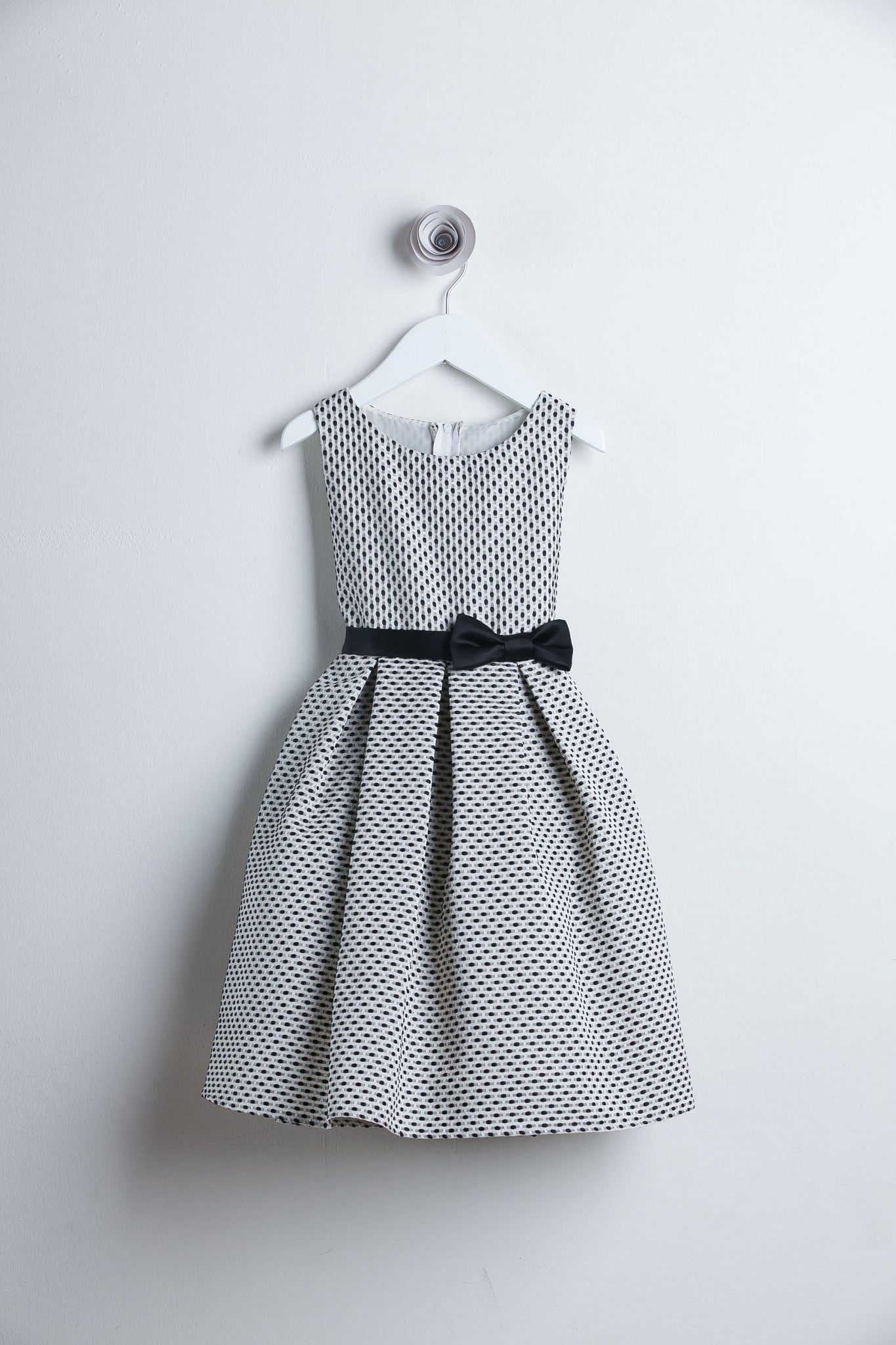 Sweet Kids Black Petite Polka Dot Jacquard Flower Girl Dress - SK520 - Young Timers Boutique