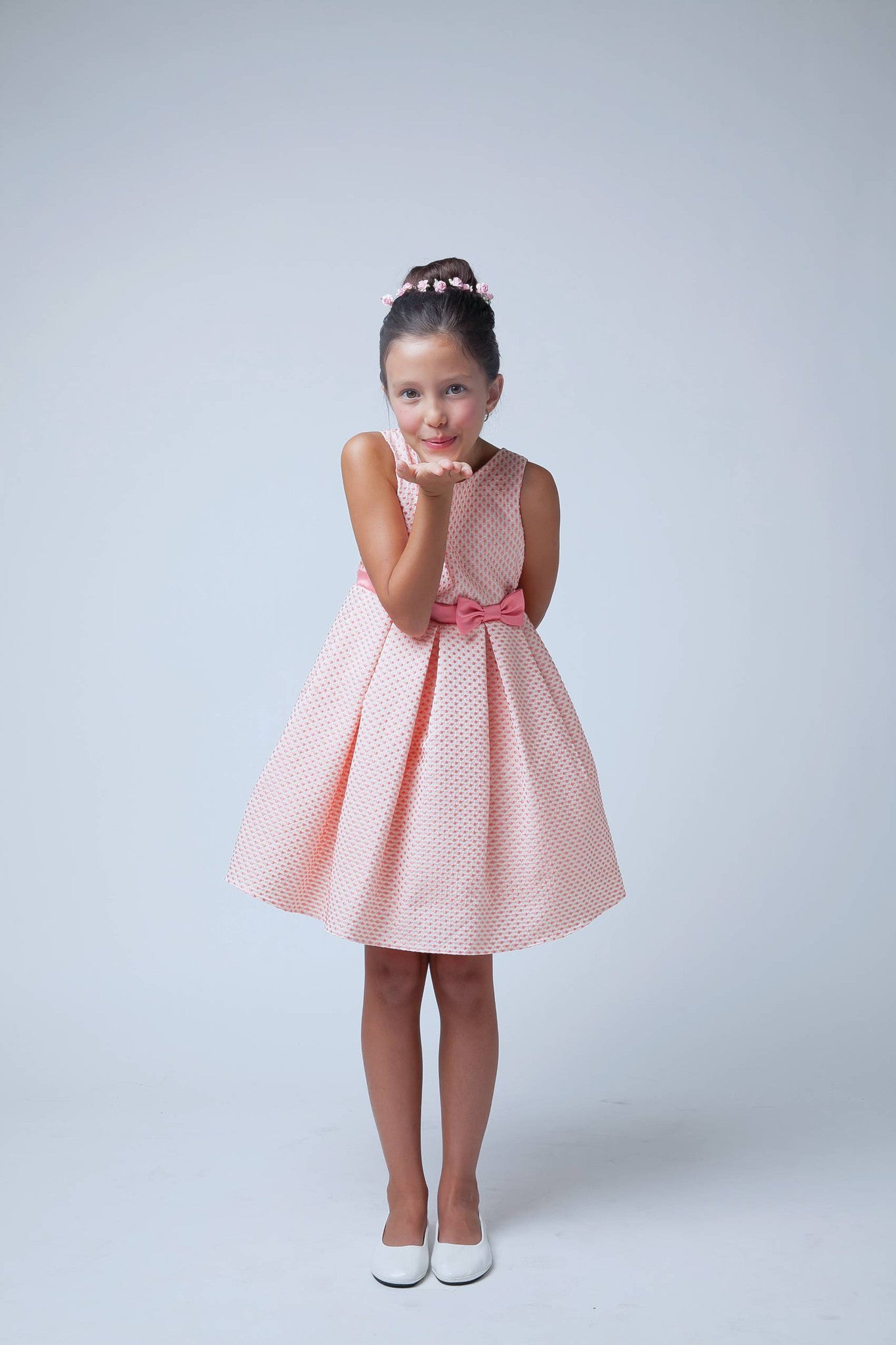 Sweet Kids Pink Petite Polka Dot Jacquard Flower Girl Dress - SK520 - Young Timers Boutique