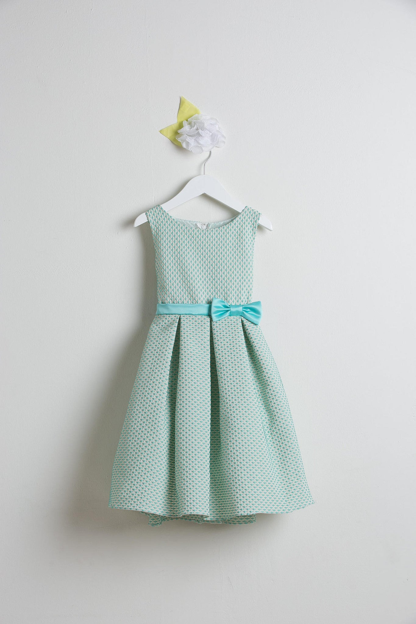 Sweet Kids Seafoam Petite Polka Dot Jacquard Flower Girl Dress - SK520 - Young Timers Boutique
