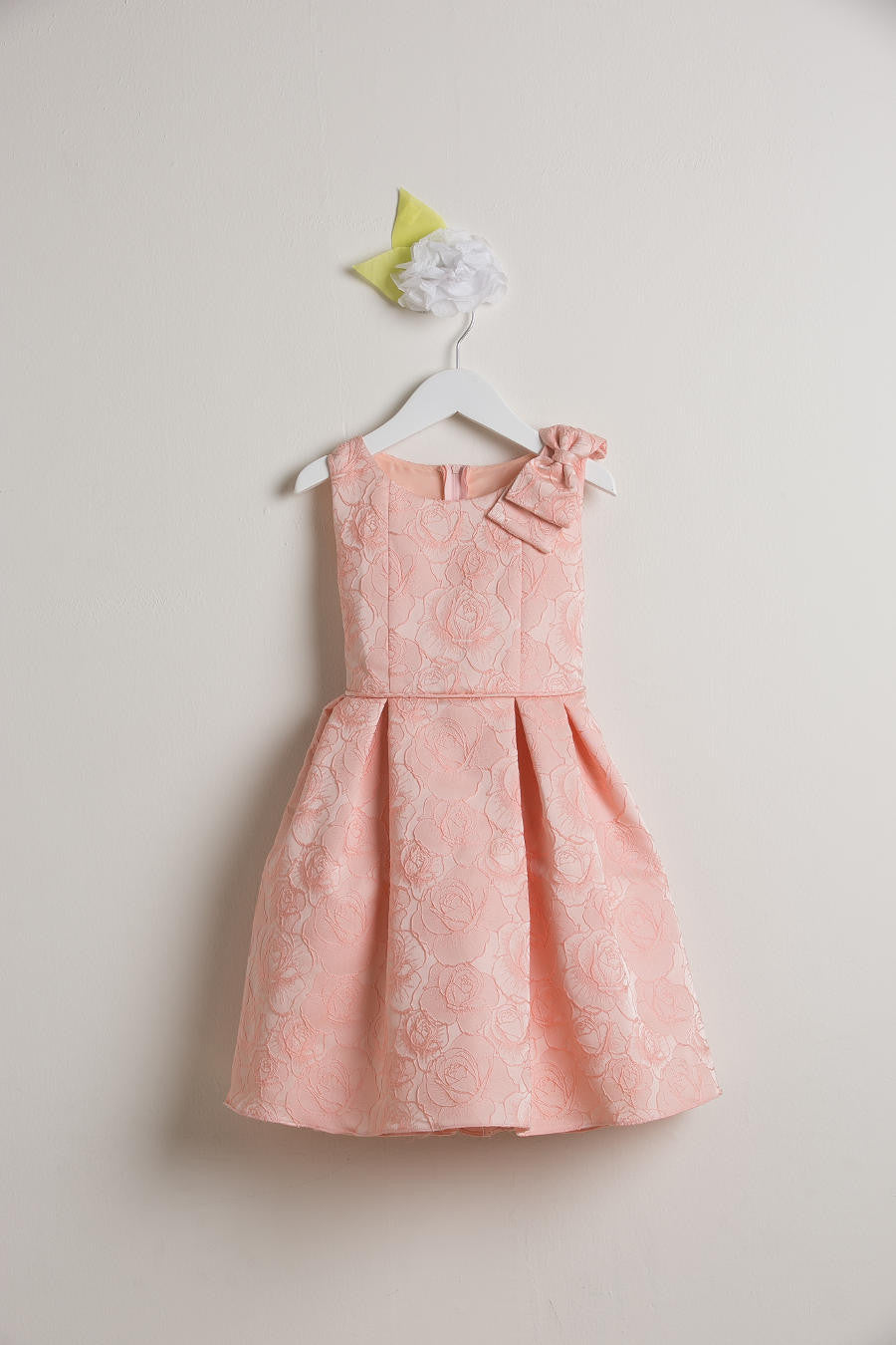 Sweet Kids Seafoam Rose Jacquard Gown with Shoulder Bow - Young Timers Boutique  - 5