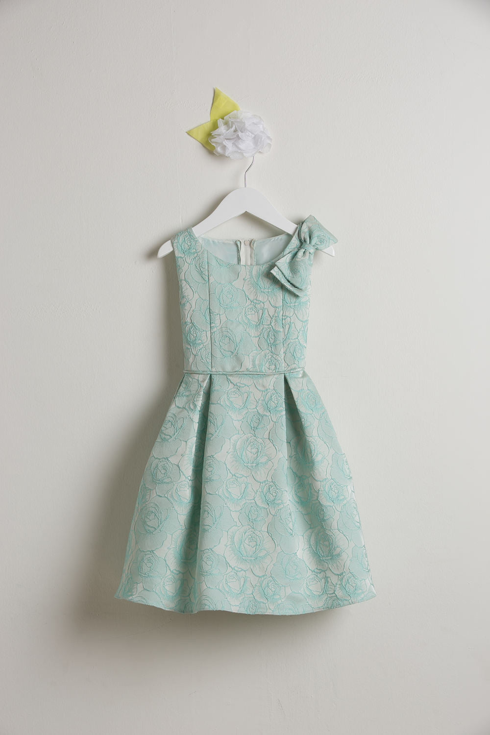 Sweet Kids Seafoam Rose Jacquard Gown with Shoulder Bow - Young Timers Boutique  - 1