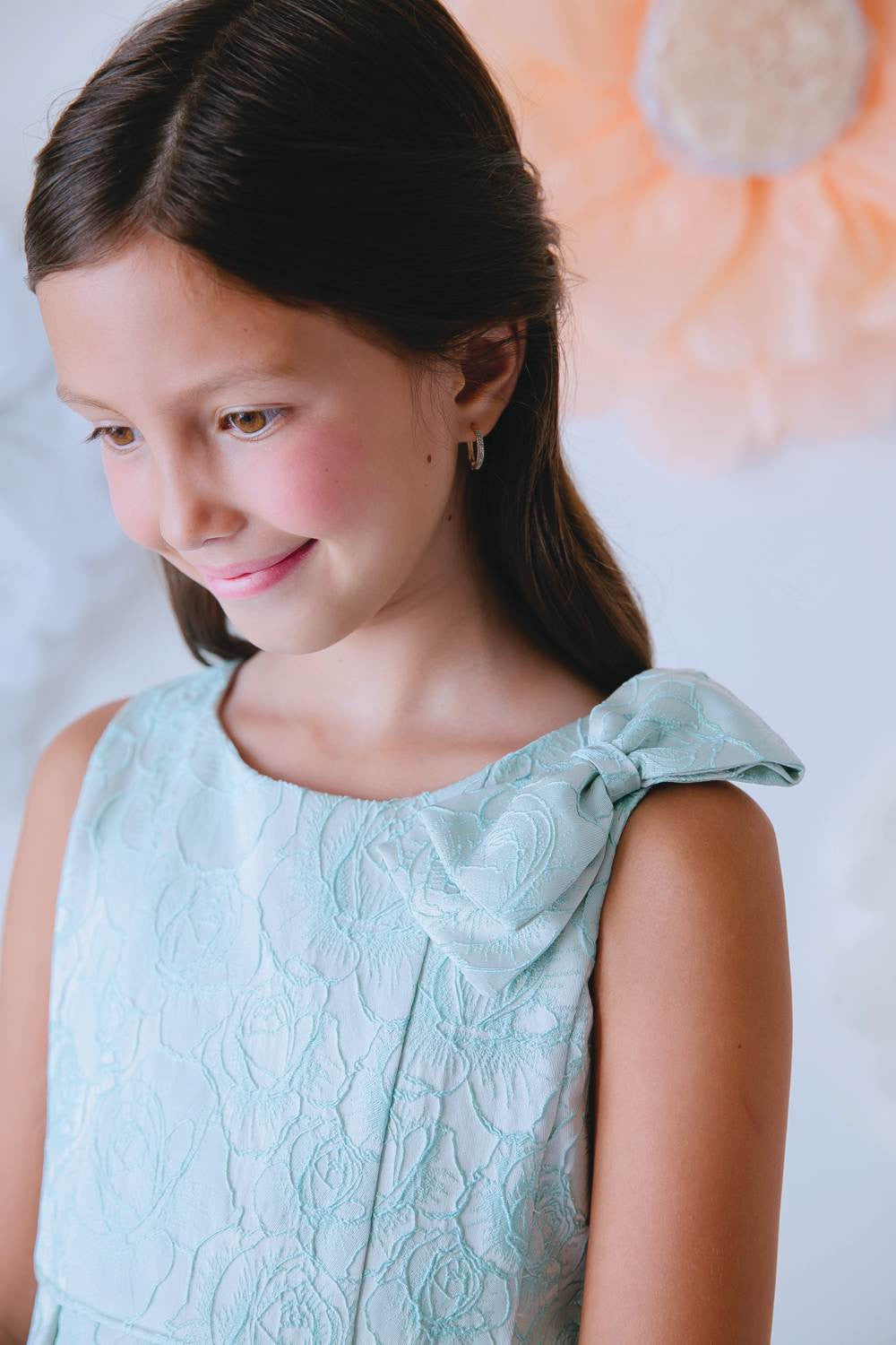 Sweet Kids Seafoam Rose Jacquard Gown with Shoulder Bow - Young Timers Boutique  - 2
