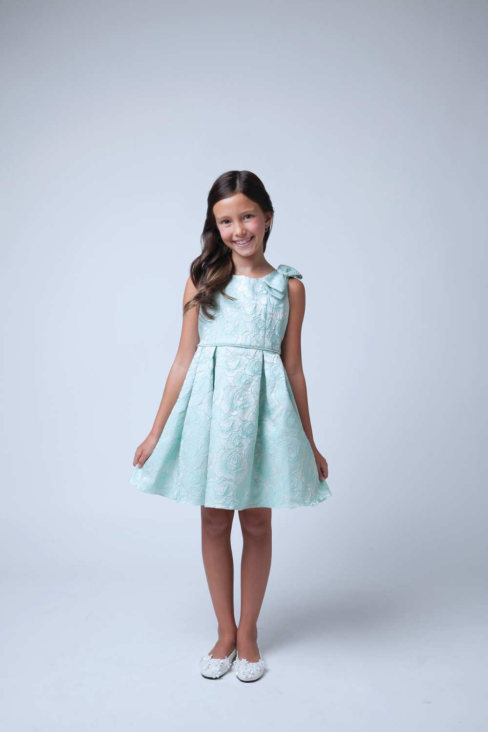 Sweet Kids Seafoam Rose Jacquard Gown with Shoulder Bow - Young Timers Boutique  - 4