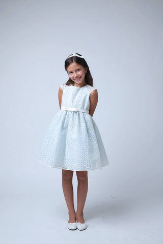 Sweet Kids Circle Embroidered Organza Dress - SK555 - Peach - Young Timers Boutique  - 1