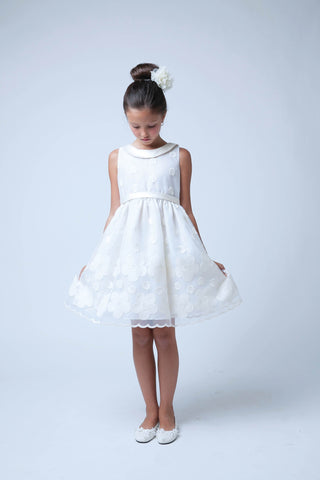 Sweet Kids Ivory Flower and Dot Embroidered Organza Special Occasion Dress - SK558 - Young Timers Boutique  - 1