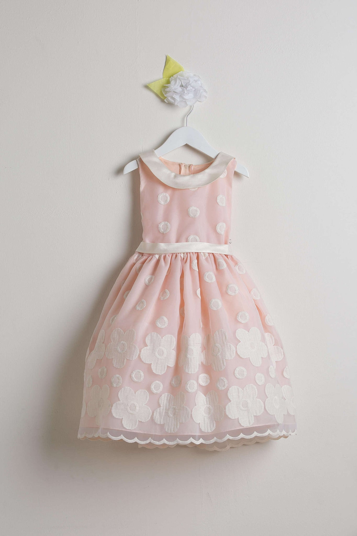 Sweet Kids Peach Flower and Dot Embroidered Organza Special Occasion Dress - SK558 - Young Timers Boutique  - 1