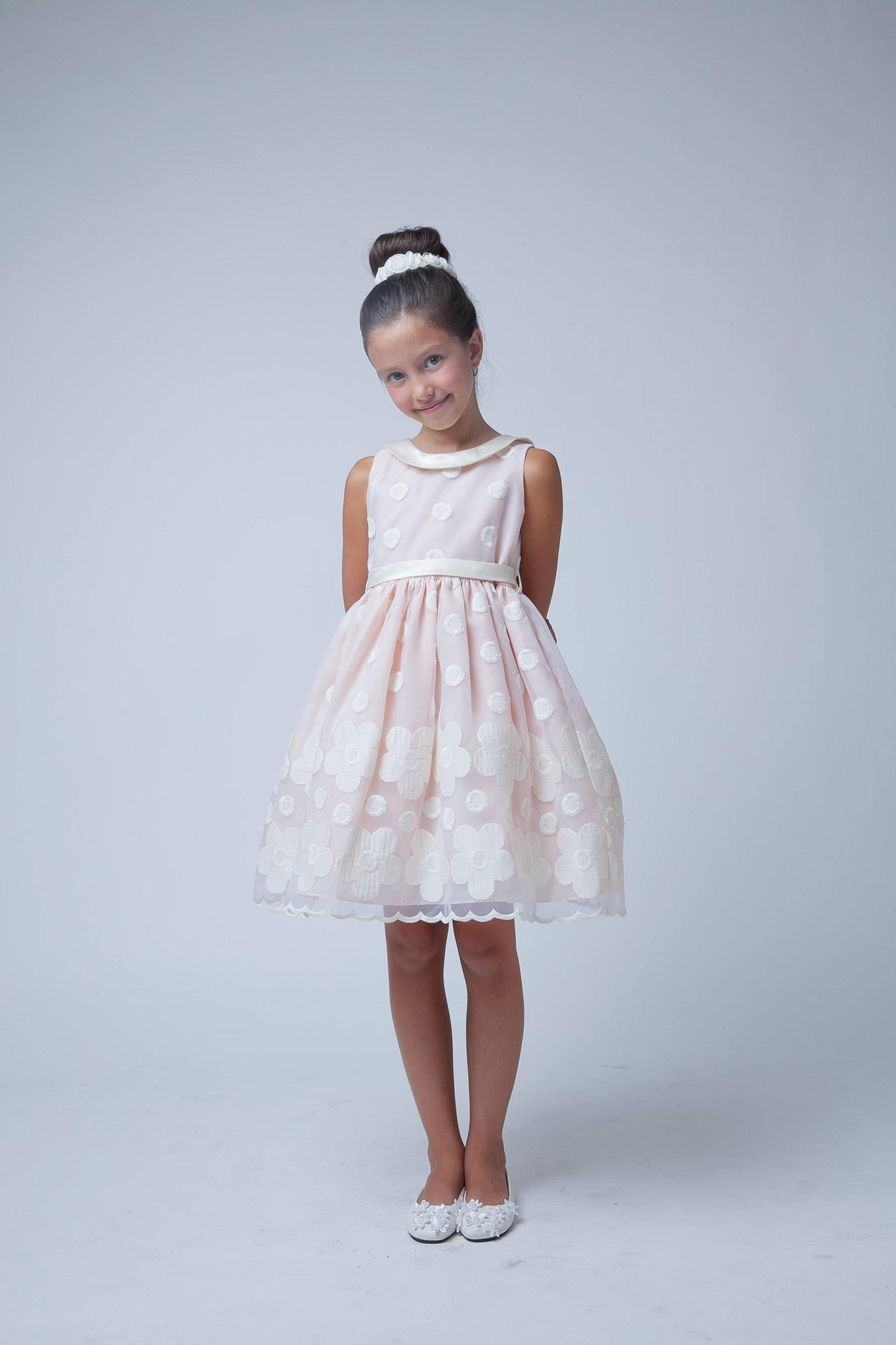 Sweet Kids Peach Flower and Dot Embroidered Organza Special Occasion Dress - SK558 - Young Timers Boutique  - 2