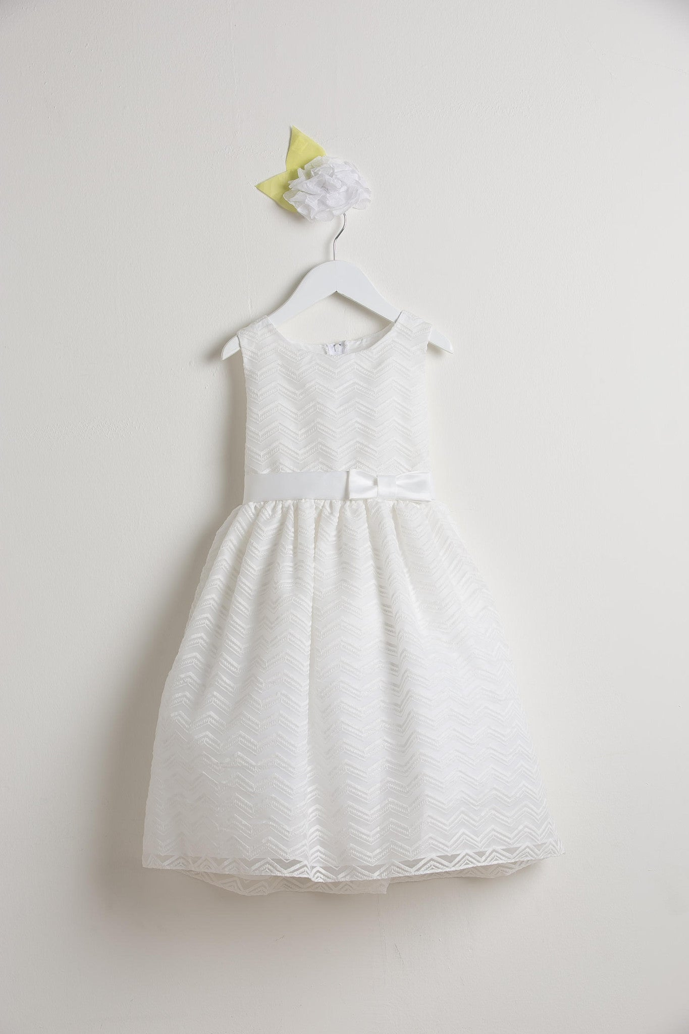 Sweet Kids Off White Chevron Organza Flower Girls Dress - SK561 - Young Timers Boutique
