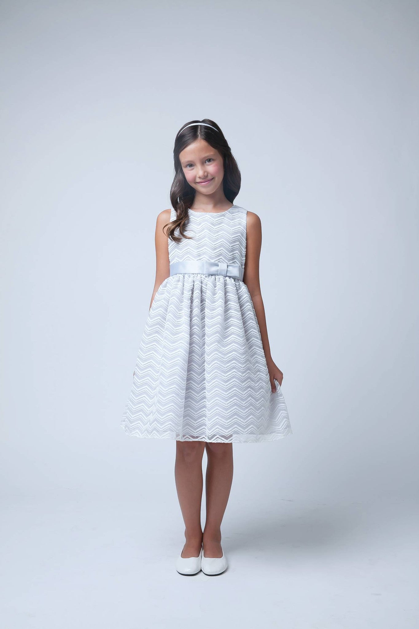 Sweet Kids Grey Chevron Organza Flower Girls Dress - SK561 - Young Timers Boutique