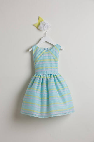 Sweet Kids Blue Directional Stripe Organza Dress - SK570 - Young Timers Boutique  - 1