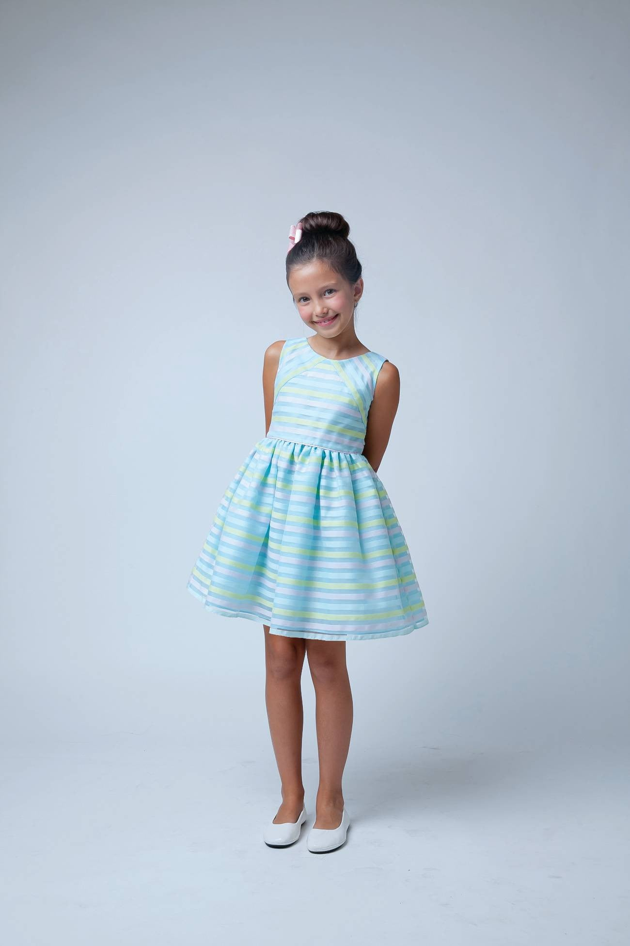 Sweet Kids Blue Directional Stripe Organza Dress - SK570 - Young Timers Boutique  - 2