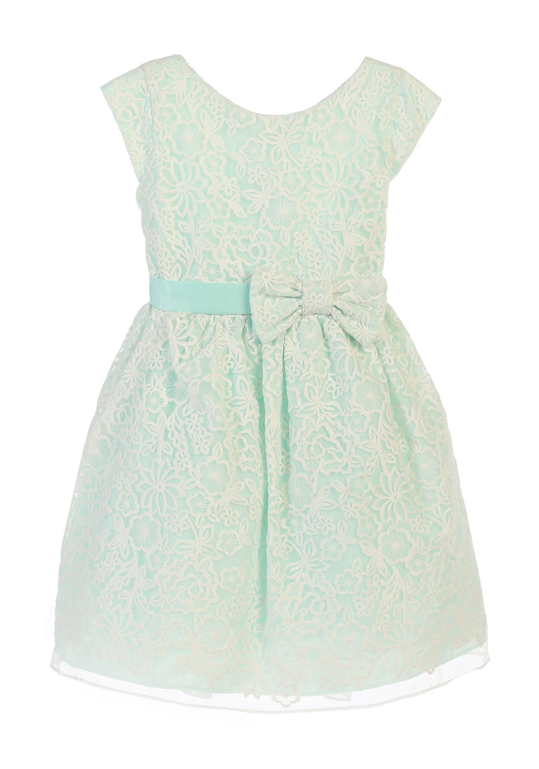 SWEET KIDS BOUQUET EMBROIDERED ORGANZA FLOWER GIRL MINT DRESS - SK626 - Young Timers Boutique  - 1