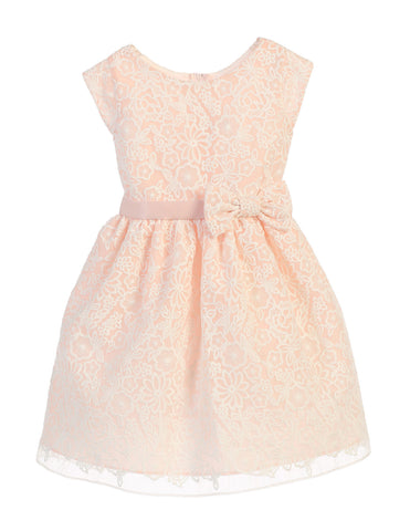 SWEET KIDS BOUQUET EMBROIDERED ORGANZA FLOWER GIRL PETAL PINK DRESS - SK626