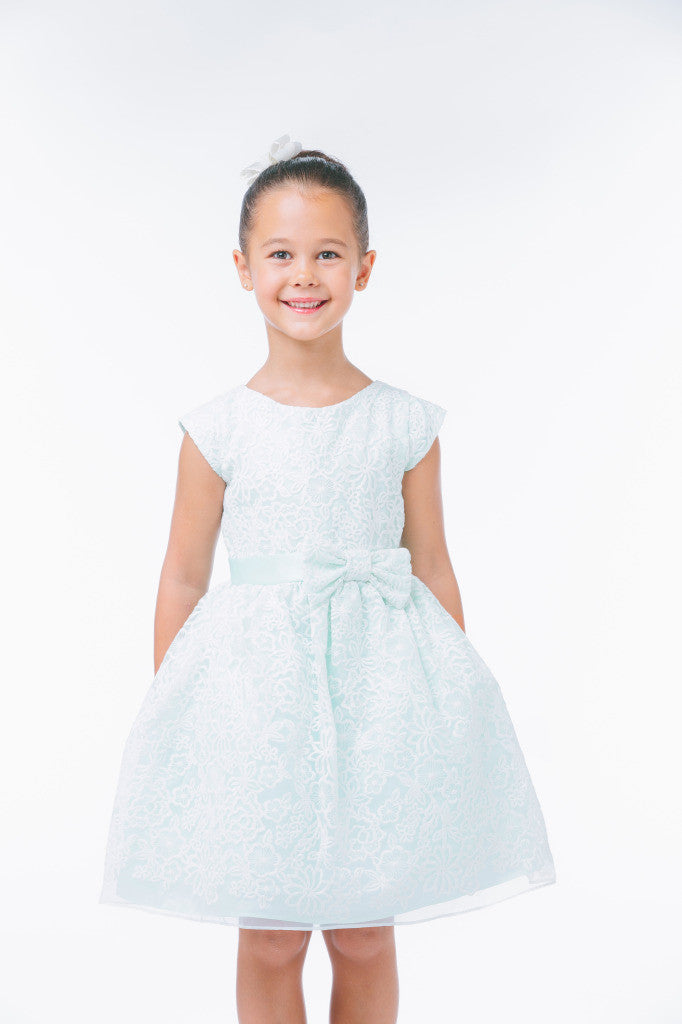 SWEET KIDS BOUQUET EMBROIDERED ORGANZA FLOWER GIRL MINT DRESS - SK626 - Young Timers Boutique  - 2