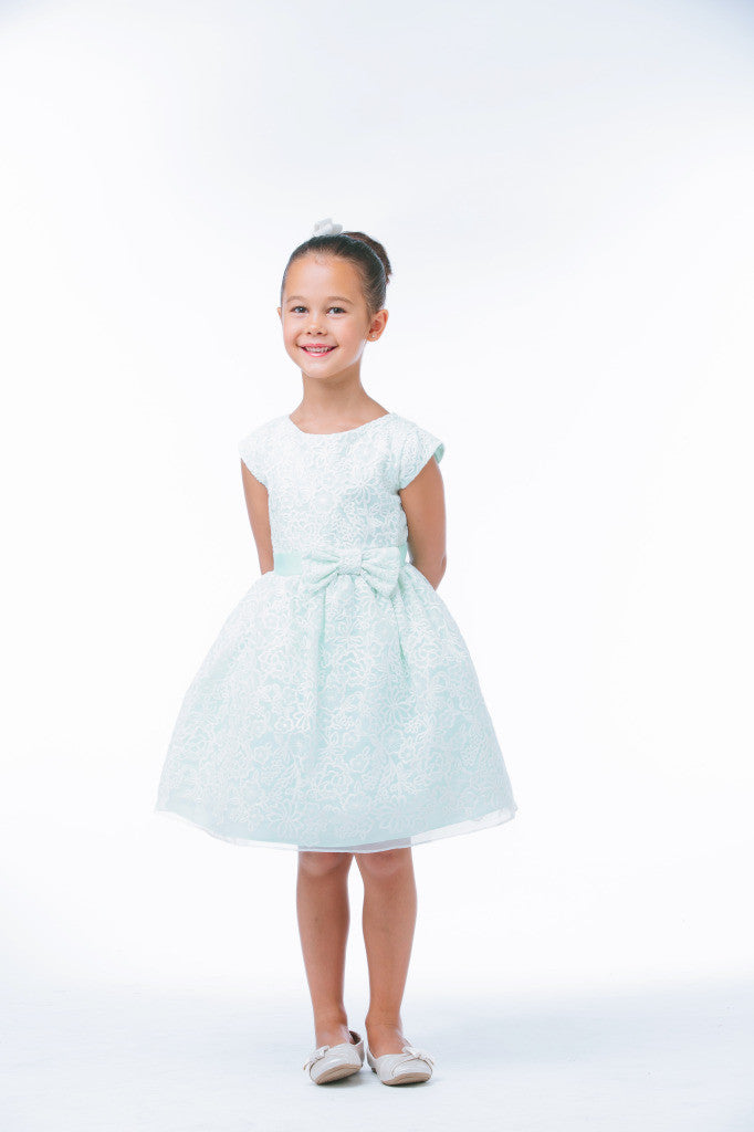 SWEET KIDS BOUQUET EMBROIDERED ORGANZA FLOWER GIRL MINT DRESS - SK626 - Young Timers Boutique  - 3