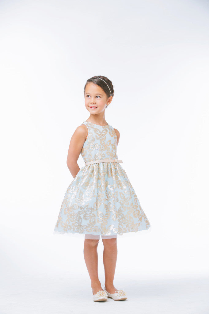 SWEET KIDS GOLD SEQUIN BUTTERFLY FLOWER GIRLS DRESS - SK630 - Young Timers Boutique  - 2