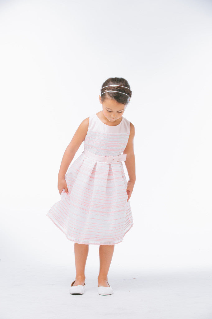 SWEET KIDS STRIPED WOVEN AND SATIN LIGHT PINK FLOWER GIRL DRESS- SK638 - Young Timers Boutique  - 2