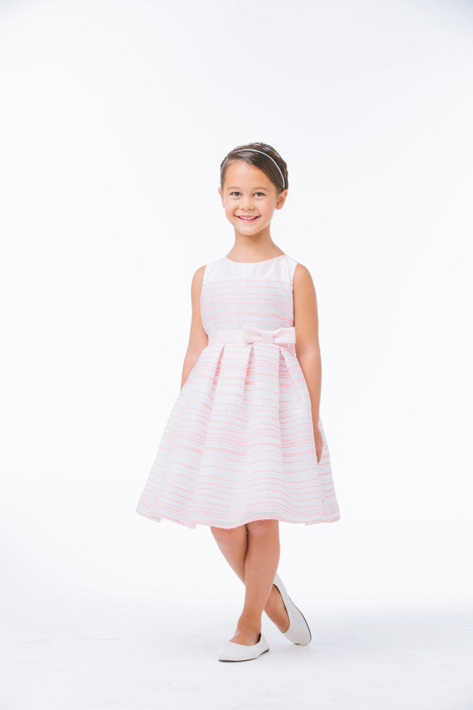 SWEET KIDS STRIPED WOVEN AND SATIN LIGHT PINK FLOWER GIRL DRESS- SK638 - Young Timers Boutique  - 3