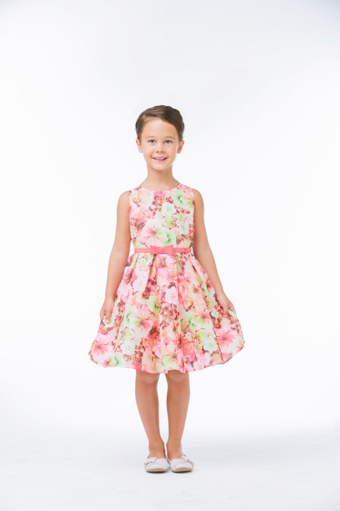 SWEET KIDS MIXED MODERN FLOWER WITH BELT FLOWER GIRL DRESS - SK640 - Young Timers Boutique  - 2