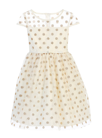 Sweet Kids Girls' Glitter Polka Dot Mesh Dress - Ivory, SK650