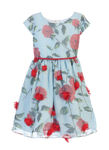 Sweet Kids Rose Chiffon with Petal Skirt Dress - Blue, SK672