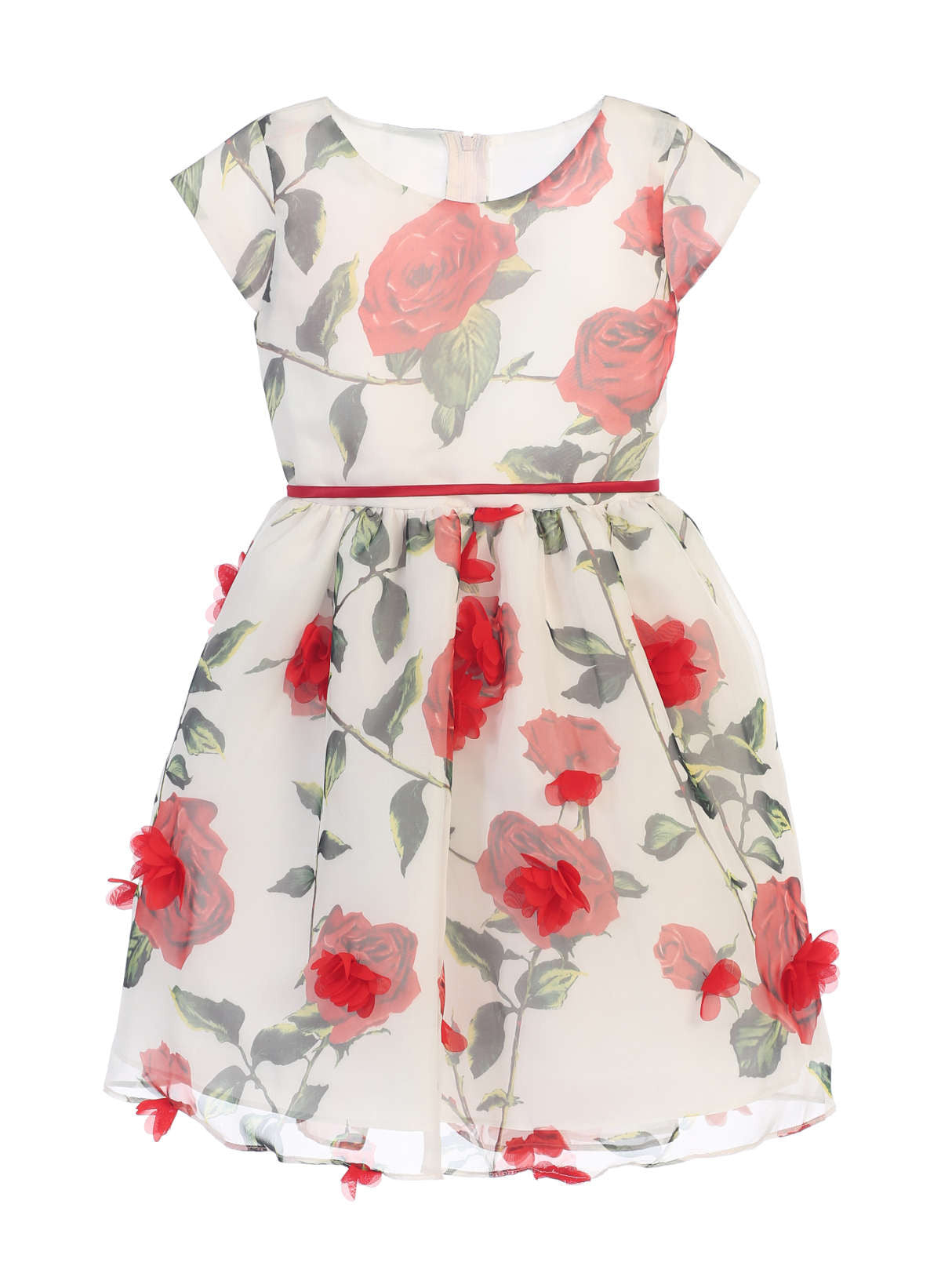 Sweet Kids Rose Chiffon with Petal Skirt Dress - Off White, SK672