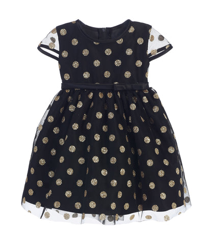 52198e28560 Sweet Kids Baby Girls  Glitter Polka Dot Mesh Dress - Black