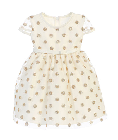 Sweet Kids Baby Girls' Glitter Polka Dot Mesh Dress - Ivory, SKB650